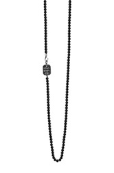 King Baby Studio Sterling Silver 18' Onyx Bead Charm Necklace Black