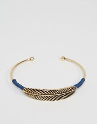 Asos Feather Bangle In Gold Gold