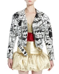 Saint Laurent Graffiti Leather Belted Moto Jacket White Black Black White
