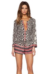 Michael Stars 3 4 Sleeve Button Down Romper Black And White