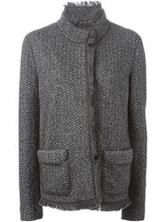 Armani Collezioni Frayed Edge Herringbone Jacket Grey