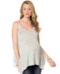 Wendy Bellissimo Wide Strap Heathered Maternity Tank Gray White Stripe