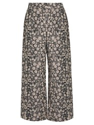 Rebecca Taylor Liane High Rise Wide Leg Floral Jacquard Trousers White Multi