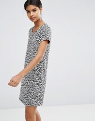 Vila Animal Print Shift Dress Black And White Multi