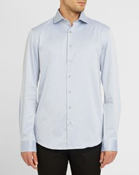 Calvin Klein Sky Blue Twill Shirt With Pattern On Collar And Cuffs