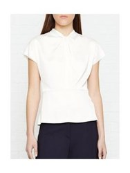 Reiss Trex Short Sleeve Top With Knot Off White