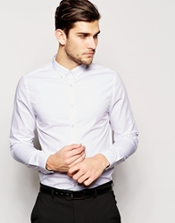 Asos Smart Shirt In Long Sleeve With Tie Pin White