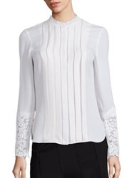 Elie Tahari Nicola Silk And Lace Pleated Blouse Antique
