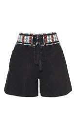 Talitha Black Tie Front Suede Shorts