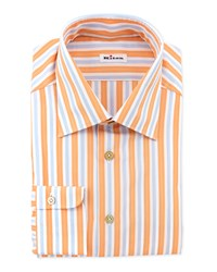 Kiton Track Stripe Dress Shirt Orange