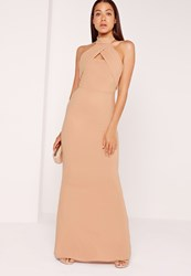 Missguided Wrap Halter Maxi Dress Nude Beige