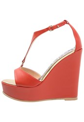 Just Cavalli Wedge Sandals Red Coral
