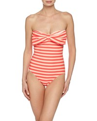 Kate Spade New York Striped Bow Bandeau Maillot Swimsuit Geranium