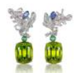 Anna Hu Haute Joaillerie Athena's Laurel Collection Athena's Laurel Earrings In Peridot Green