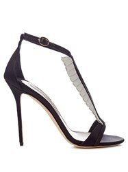 Olgana Paris La Sensuelle Leather And Satin Sandals Black White