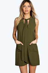 Boohoo Plunge Tie Neck Woven Shift Dress Khaki