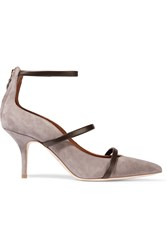Malone Souliers Leather Trimmed Suede Pumps Gray