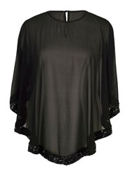 Chesca Chiffon Top With Ring Sequin Trim Black
