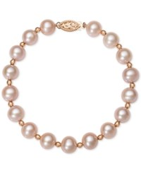 Belle De Mer White Cultured Freshwater Pearl 7 1 2Mm Bracelet In 14K Rose Gold Rose Gold And Pink Pearl