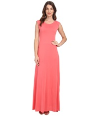 Bcbgmaxazria Evey Maxi W Deep V Back Vintage Coral Reef Women's Dress Pink