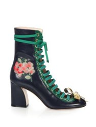 Gucci Finnlay Leather Lace Up Ankle Boots Blue Green