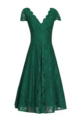 Jolie Moi Cap Sleeve Lace Prom Dress Green