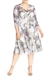 Komarov Plus Size Women's Abstract Print Chameuse And Chiffon V Neck Dress