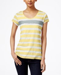 Styleandco. Style And Co. Short Sleeve Striped Tee Soft Sun City Silver