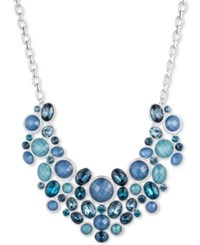 Nine West Silver Tone Blue Multi Stone And Crystal Statement Necklace
