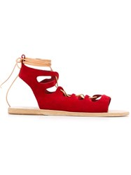 Ancient Greek Sandals 'Antigone' Flat Sandals Red