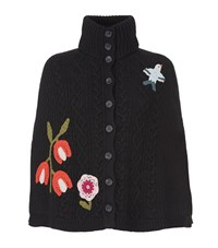 Red Valentino Knitted Flowers Wool Cape Female Black