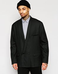 Asos Oversized Blazer With Dropped Shawl In Black Black