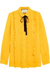 Gucci Ruffled Silk Shirt Mustard