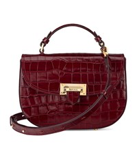 Aspinal Of London Croc Print Letterbox Saddle Bag Unisex Burgundy
