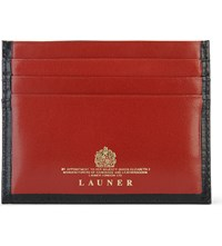 Launer Luxury Leather Card Holder Black Red