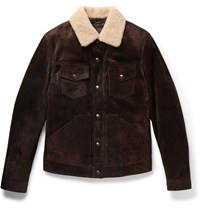 Tom Ford Slim Fit Shearling Trimmed Suede Jacket Brown