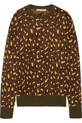 Christopher Kane Leopard Intarsia Cashmere Sweater Army Green
