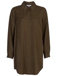 French Connection Military Tencil Shirt Dress Dark Olive Night