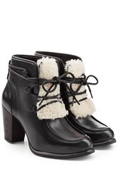 Ugg Australia Leather Ankle Boots With Shearling Black
