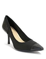 Ellen Tracy Pari Snake Embossed Cap Toe Pump Black Snake