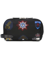 Alexander Mcqueen Skull Badge Clutch Black