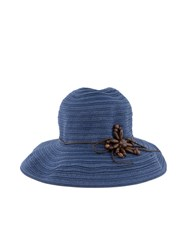 Lavand Straw Hat With Flower Motif