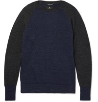 Nigel Cabourn Two Tone Boiled Wool Sweater Navy