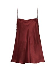 Ellery Leni Ruched Side Silk Satin Cami Top Burgundy