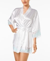 Flora Nikrooz By Adore Charmeuse And Lace Kimono Robe White