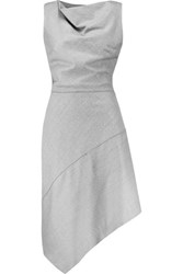 Carven Asymmetric Wool Dress Gray