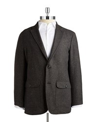 Black Brown Tweed Blazer Black