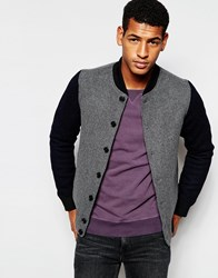 Scotch And Soda Bomber Jacket In Wool And Contrast Sleeves Grey