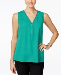 Inc International Concepts Petite Sleeveless Zipper Detail Top Only At Macy's Teal Glow