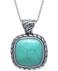 Macy's Manufactured Turquoise Square Pendant Necklace In Sterling Silver
